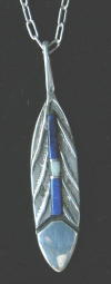 Hopi, Sandcast Sterling Silver Pendant, Feather