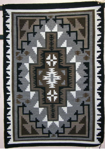 Navajo Rug, Two Grey Hills, Classic Design, Daisy Shorty