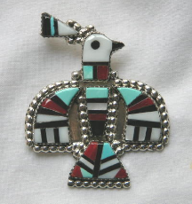 Pendant/Pin Zuni Thunderbird Inlay