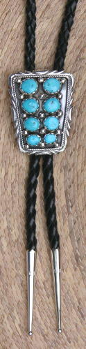 Bolo Tie, 8 Turquoise Nuggets, Navajo