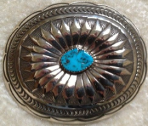 Concho Buckle with Turquoise Nugget