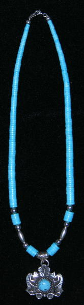Turquoise Necklace with Kokopelli Pendant