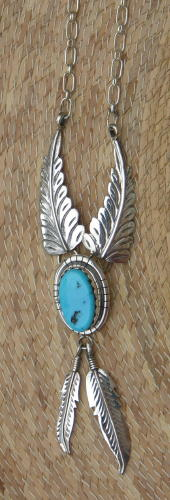Navajo Turquoise and Feather necklace