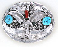 Eagle Buckle with Turquoise and Coral Stones