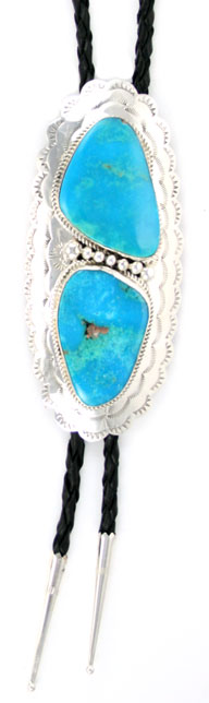 2 Large Turquoise Stone Bolo Tie