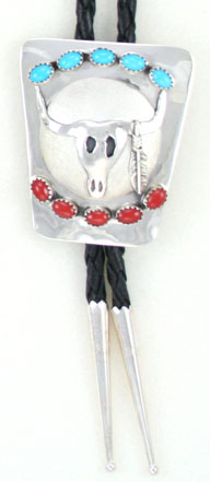 Steer Head Bolo Tie with Turquoise and Coral Stones