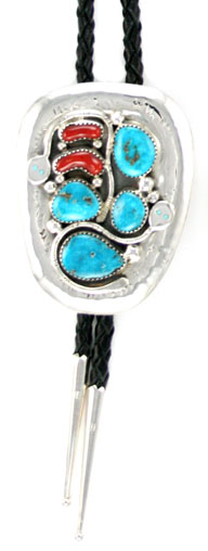 Turquoise and Coral Bolo Tie
