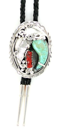 Turquoise Claw Bolo Tie with Coral Stone