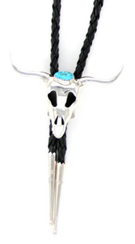 Steer Head Bolo Tie with Turquoise Stone