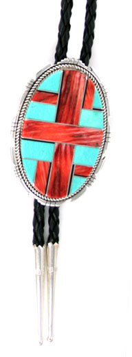 Spiney and Turquoise Inlayed Bolo Tie