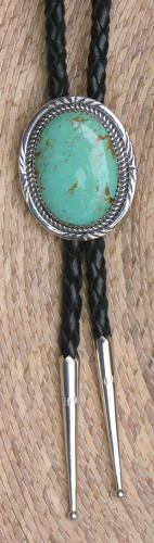 Bolo Tie, Green Turquoise, Navajo