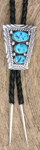 Bolo Tie, 3 Turquoise Nuggets, Navajo