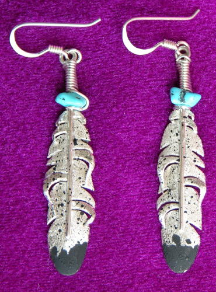 Navajo Earings Feather Design