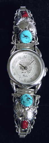 Ladies Watch-Bracelet; 2 Turquoise Stones