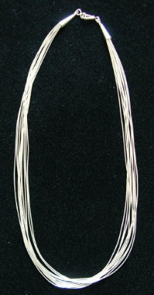"10 Strand 18"" Liquid Silver Heishi Necklace"