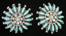 Navajo Turquoise Needlepoint Earrings