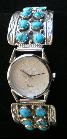 Men's Watchband, Turquoise Clusters