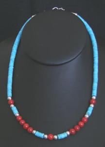 Turquoise Onyx and Coral Necklace