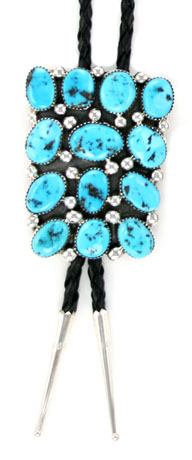 Turquoise Cluster Bolo Tie