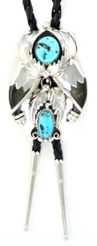 Bear Claw Bolo Tie with Turquoise Stones
