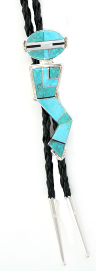 Turquoise Inlayed Dancer Bolo Tie