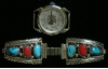 Ladies Watch with 4 Turquoise Stones and 2 Corals Bracelet