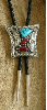 Bolo Tie, Turquoise & Coral